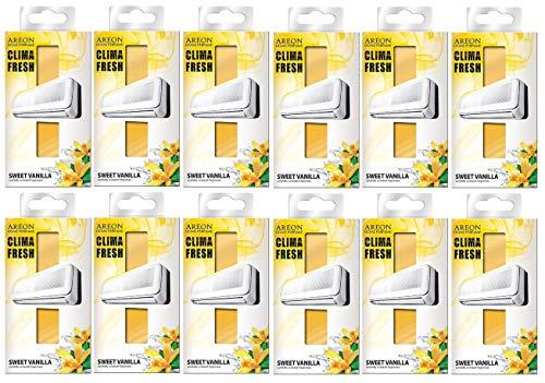 AREON Clima Deodorante Ambiente Dolce Vaniglia Filtri Condizionatori Profumati Casa Giallo (Sweet Vanilla Set di 12)