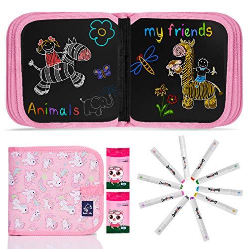 JOYUE Einhorn Graffiti-Zeichenbrett für Kinder, Löschbares Zeichenbrett, Wiederverwendbar Tragbar Graffiti-Zeichenbrett, Doppelseitiges Spielzeuggemälde Mit 12 Löschbaren Farbstiften (Rosa)