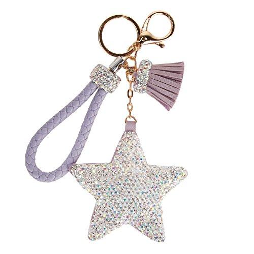 Fawziya Glittery Keychains Crystal Tassel Star Keychain-Purple