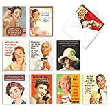 The Best Card Company - 10 Blank Funny Greeting Cards for Women (4 x 5.12 Inch) - Boxed All Occasion Assortment - Retro Toasts M6619OCB