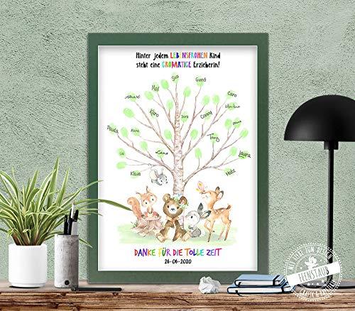 Fingerabdruck Prints Abschied von Kindergarten Erzieherin Vorschule personalisierbares Geschenk
