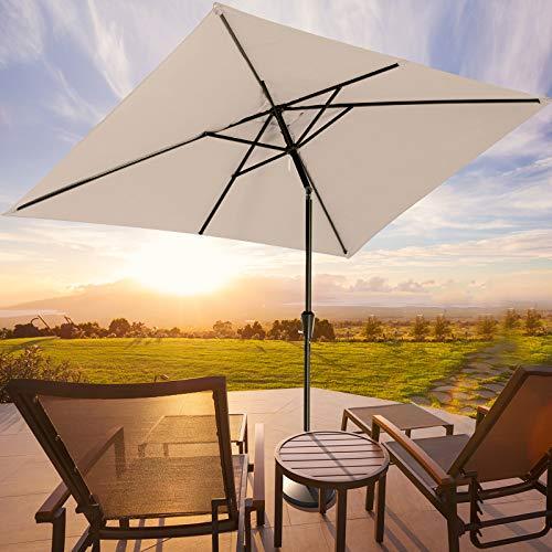 ROWHY 6.5 x 10ft Rectangular Patio Umbrella Outdoor Table Umbrella Market Umbrella with Push Button...