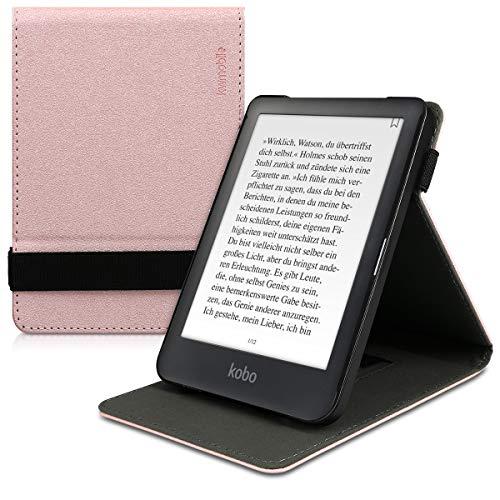 kwmobile Hülle kompatibel mit Kobo Clara HD - Schlaufe Ständer - e-Reader Schutzhülle - Rosegold