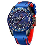 LIGE Men's Watch Fashion Waterproof Sport Blue Analog Quartz Watch Classic Unique Multifunction Large Dial Automatic Timing Military Watch