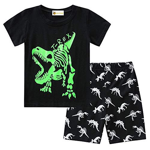 MOLYHUA Jungen Schlafanzug Dinosaurier Kurzarm Schlafanzüge für Kinder Glow in The Dark Pyjama 86 92 98 104 110 116