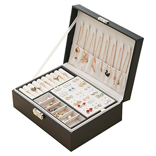 Joyero de 2 capas de piel sintética para mujeres, niñas, adolescentes, hombres, caja organizadora de joyas, caja de almacenamiento de joyas con cierre separador extraíble para pendientes