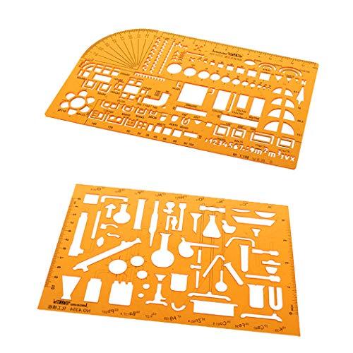 Harilla 2x Plantillas de Dibujo de Plástico Flexible para Diseño de Arte/Dibujos de Arquitectura