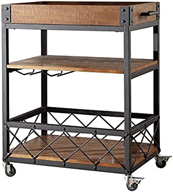 Bar Serving Cart TRIBECCA Home Myra Rustic Mobile Kitchen (Brown)