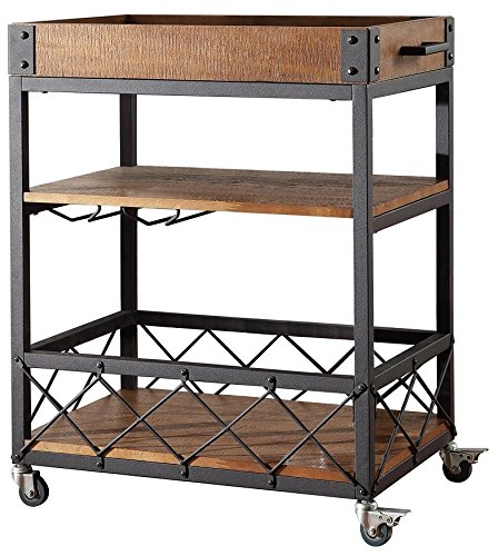 rustic bar carts Bar Serving Cart TRIBECCA Home Myra Rustic Mobile Kitchen (Brown)
