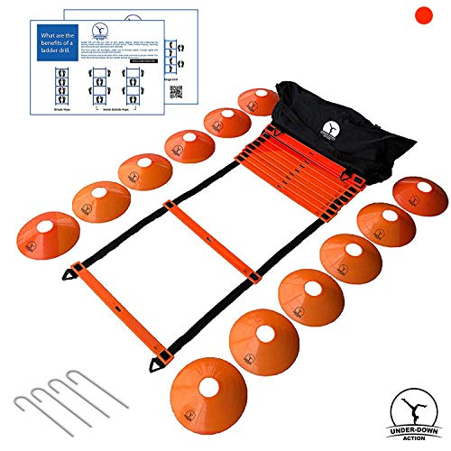 Underdown Agility Ladder – Train for Better Agility & Speed. Ideal Fitness Exercise Equipment for Sports. Set Comes with Cones, Drill Chart & Bag. Ideal for Baseball, Basketball, NFL, Soccer, Tennis.