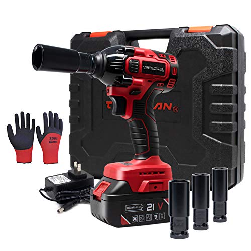 Toolman Lithium-ion 1 Batteries cordless Impact Wrench kit 1/2' 20V with Socket Set for Heavy Duty works with DeWalt Makita Ryobi Accessories