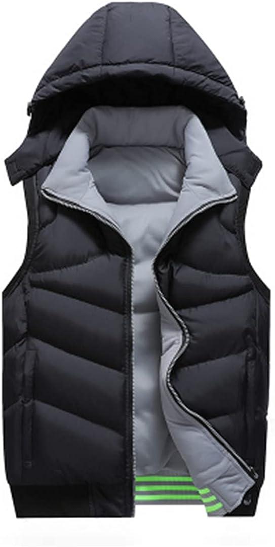 Men Winter Sleeveless Jacket Men Down Vest Detachable Warm Work Waistcoat Menthick Hooded Coat