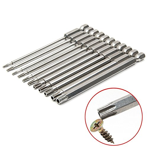 Rocaris 11 Pieces 1/4 Inch Hex Shank T6-T40 3 Inch Length S2 Steel Torx Security Head Screwdriver Drill Set Bits