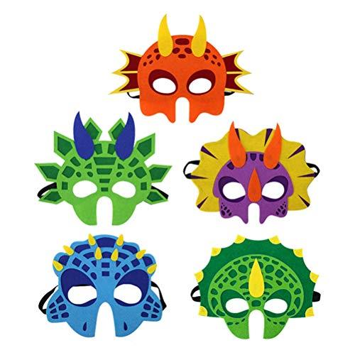Amosfun 5 stücke Dinosaurier Maske Lustige Filz Cosplay Maske für Kind Kid Party (Tyrannosaurus, Triceratops, Monoclonius, Stegosaurus, Orange Pterosaurs Pattern