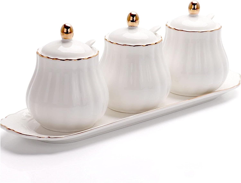 BIHOIB half Flower Max 53% OFF Shape Porcelain Sugar Salt Bowl Pot Condiment Cont