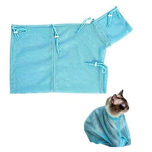 Xiuyer Gatos Bolsa Baño Lavar, 2pcs Multifuncionales Anti Rasguno Anti Mordaz Malla Ajustable Bolsa Baño Gato para Ducha Limpieza Orejas Medicamentos Alimentacion