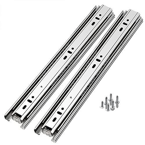 Deslizador de cajón de acero inoxidable Espesor de riel guía de soporte de carga montado en deslizamiento de tres secciones, 6,10 pulgadas (15,100 cm, 16 pulgadas (400 mm)