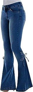 Vaqueros Mujer Bootcut Cintura Alta, Morbuy Push Up Rectos Acampanados Pantalones Talla Grande EláStico Tejanos Skinny Sli...