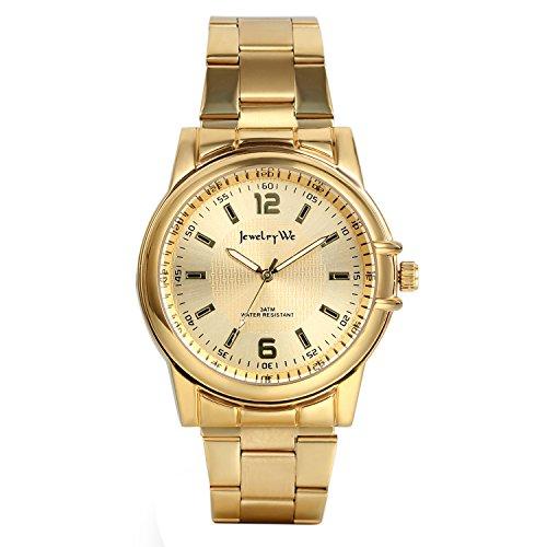 Avaner Reloj Dorado para Hombre Reloj de Caballero, Reloj Analogico Cuarzo Japonés Correa de Acero Inoxidable, Grande Reloj de Hombre Original