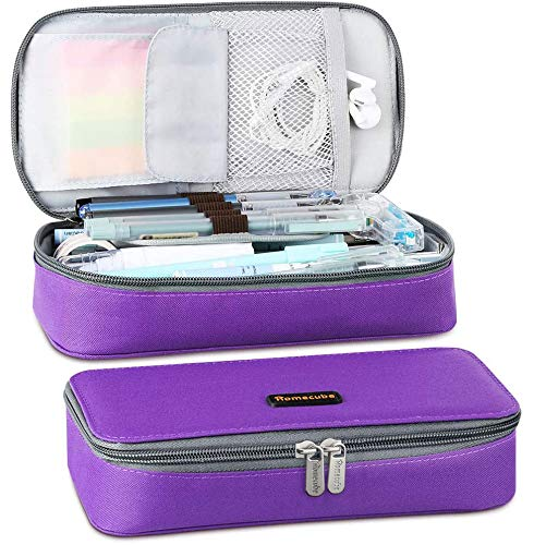 Homecube Pencil Case Big Capacity Storage - Oxford Cloth Bag Pouch Marker Stationery Organizer Holder with Zipper for School & Office - 8.74x4.3x2.17 inches - Purple