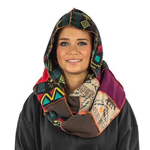 KUNST UND MAGIE Damen Kapuzenschal Loop aus Fleece, Farbe:Mehrfarbig