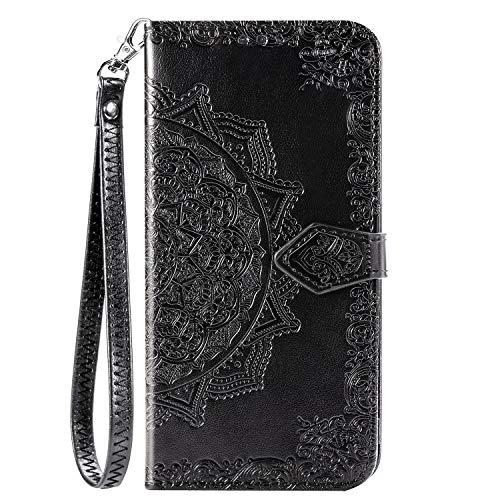BaiFu Datura blommor plånboksfodral för Xiaomi Redmi Note 9 Pro läder plånbok kort flip fodral med magnetisk stängning kompatibel med Xiaomi Redmi Note 9 Pro Black