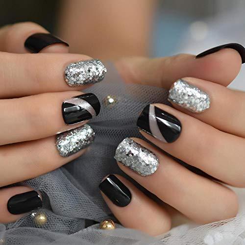CLOAAE Fashion glitter fake nail black shiny short nail decoration square smooth gray artificial
