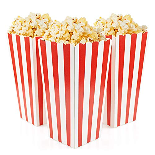 Fasmov Set of 100 Popcorn Favor Boxes Popcorn Box, Red and White Paper Popcorn Containers for Carnival Party Supplies, Movie Night, Birthdays