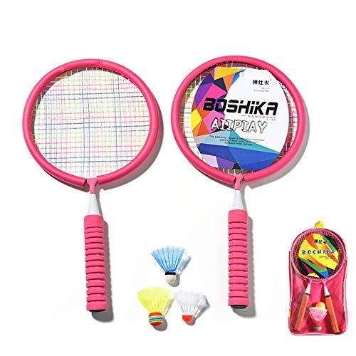 Bádminton Niños Raqueta Deportiva Artículos Setlight Peso Bádminton Racket Set2 Badminton Racquets Y 3 Shirtlecocks - Adultos Y Kids Backyard Juego,Rosado