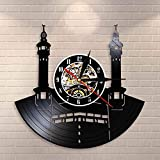 BFMBCHDJ Famous City Mecca Wall Sign Vinyl Record Reloj de Pared Islámico Vintage Reloj de Pared Kaba Muslim Architecture Home Decor Clock Gift