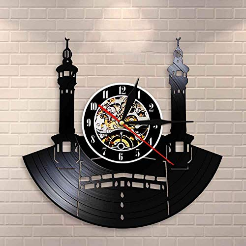 wtnhz LED Reloj de Pared de Vinilo Colorido Reloj de Pared de Vinilo con Registro de Pared de la Ciudad Famosa de La Meca, Reloj de Pared Retro islámico Kabbah, Reloj de decoración del hogar de ar
