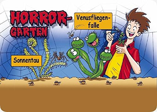 SAFLAX - Anzuchtset - Horror Garten - Klein - Für Kinder - Mit 2 Samensorten, Gewächshaus, Anzuchtsubstrat, 2 Kunststofftöpfen mit Untersetzer zum Umtopfen und Anleitung