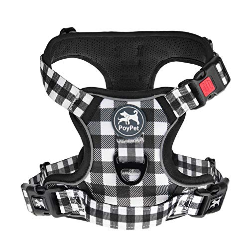 PoyPet No Pull Dog Harness, [Neck Release] Reflective Adjustable No Choke Pet Vest with Front & Back 2 Leash Attachments, Soft Control Training Handle for Small Dogs(Grid,XS)