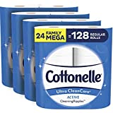Cottonelle Ultra CleanCare Soft Toilet Paper with Active Cleaning Ripples, 24 Family Mega Rolls, Bath Tissue...