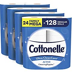 24 family mega toilet paper rolls (4 packs of 6); 388 sheets per roll; 24 family mega rolls = 128 regular rolls* Strong, 1-ply toilet paper, 3X stronger & thicker and 2X more absorbent per sheet with a CleaningRipples Texture that removes more at onc...