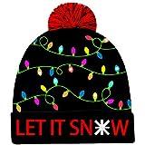 Goodstoworld Weihnachtsmütze Herren LED Light Up Beanie Hut Knitted Christmas Hat Mütze mit led Männer Frauen Jungen Mädchen Strickmütze Beanie Mütze Wintermütze Christmas Santa Hat for Party