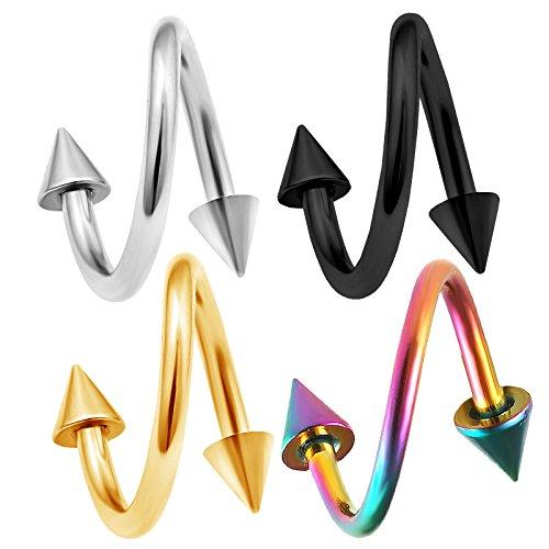bodyjewelrytrend 4 Stück Spiral Piercing Twister Ohr Kegel chirurgenstahl 1,2mm unterlippe lippenpiercing lippe Helix Twist Tragus eloxierter BFDR - 8mm