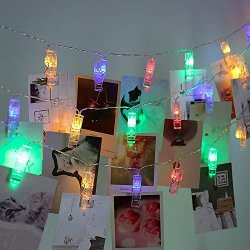 Guirlande lumineuse festive de décoration de guirlandes lumineuses avec clip de fixation photo Guirlande lumineuse à LED Batterie multicolore 6m60 leds