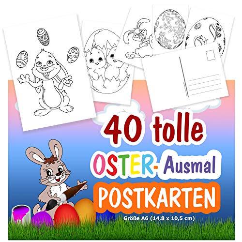 40 x Postkarten zum Ausmalen Ostermotive für Kinder ab 3 Jahren, 40 verschiedene Motive mit Osterhase, Ostereier usw. Tolle Postkarten zum Verschicken!