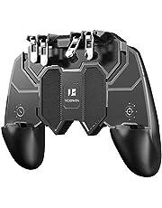 荒野行動【最新型一体式】PUBG Mobile 荒野行動 pubgコントローラー ゲームパット 6本指操作可能 押しボタン&グリップの一体式