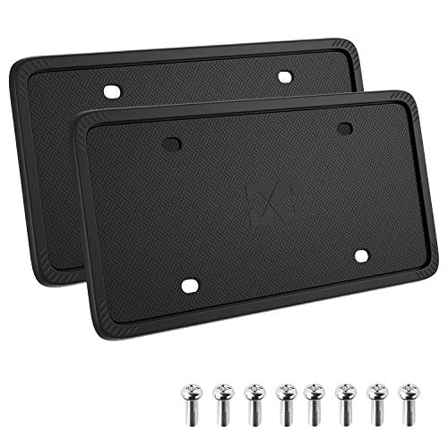 XCLPF Silicone Black License Plate Frame Covers 2 Pack- Front
