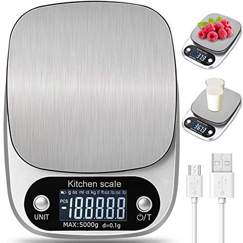 Bilancia da Cucina Digitale con Carica USB,5kg/ 11lb-0.1g Bilance Multifunzione Alimentari Elettronica con Retroilluminato e Timer Allarme,Peso Cucina Design in Acciaio - Argento