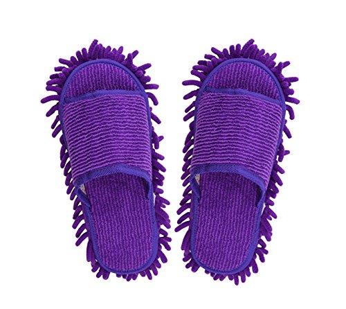 Mikrofaser Putzhausschuhe Multifunktions Putz-Hausschuhe Staub Mop Hausschuhe Bodenreinigung Slippers Shoe für Badezimmer Büro Küche