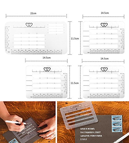 White Envelope Addressing Guide Stencils Templates Lettering Straight Writing Ruler Guide,4-Pack