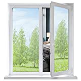 One Way Window Film Daytime Privacy Mirror Film Non-Adhesive Easy to Use, Static Cling Window Sticker Anti UV Heat Control Reflective Window Tint for Home Office Silver 17.7 Inch x 6.5 Feet