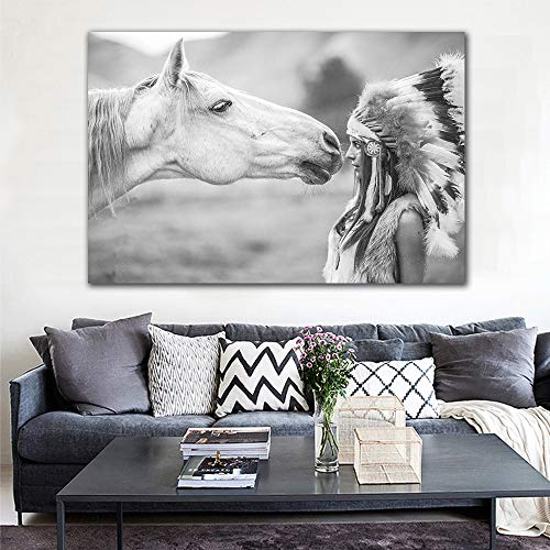 GJQFJBS Blanco y Negro Caballo y Pluma Mujer Lámina Artística Cuadro Lienzo Decoración Nórdica Cartel de Pared A1 30x40cm