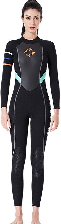 ダイビング水着 女性用ジャンプスーツジャンプスーツネオプレンウェットスーツ 長袖水着ダイビングスーツ (Color : 黒, Size : S)