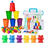 Bmag Counting Bears with Matching Sorting Cups,Pre-School Math Learning Games with 2 Dices,Color Recognition STEM Educational Toy for Toddler Bonus Tweezers, Storage Box, Activity Cards