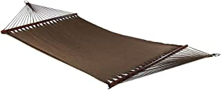 Sunnydaze Polyester Rope Hammock, Large Double Wide Two Person with Spreader Bars - for Outdoor Patio, Yard, and Porch - Mocha