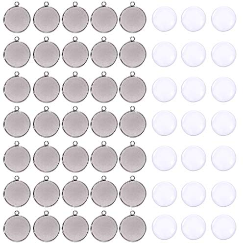 40 Pieces Transparent Glass Cabochons with 40pcs Stainless Steel Pendant Trays Clear Round Dome Non-Calibrated 25mm for Photo Craft Jewelry Making
